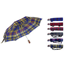 Check Fabric 3 Fold Automatic Umbrella (YS-3FA22083009R)