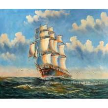 Atacado pintura a óleo veleiros em tela para decoração Home (EWL-051)