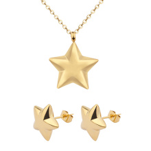 18K Gold Plated Star Pendant Women Wedding High Quality Jewelry Set Earrings and Necklace
