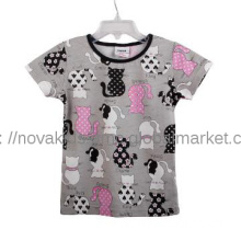 Baby girl printed and sequin&strass cotton short sleeve summer t shirt