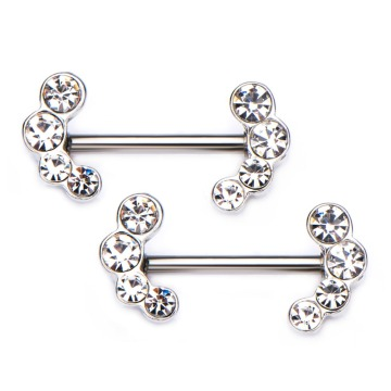 Gem End Surgical Steel Nipple Barbell Rings