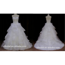 Vestido de novia sin tirantes organza Wonmen 2016 Nuevo estilo