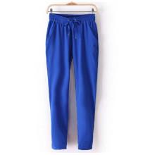 Новые летние женские шифон брюки эластичной талии черные брюки вскользь гарем штаны (50208-2)