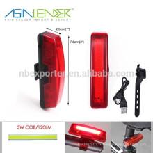 Asia Leader BT-4796 Batterie Li-ion Alimentation ABS 3.7V COB USB Rechargeable Bicycle Light