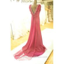 EN ESTRELLA cuello escote vestido de fiesta de las mujeres de piso de longitud verdadero vestido de fiesta de seda SE16