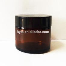 Atacado europeu âmbar cosmético jar 60ml com tampa de plástico preto