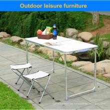 Pequeña mesa de muebles de ocio al aire libre de plata