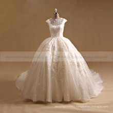 Luxurious Style Cap Sleeves Lace Sequins Ball Gown Wedding Dress Key Hole Back