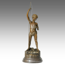 Niños Figura Estatua Niño Pesca Decoración Bronce Escultura TPE-343
