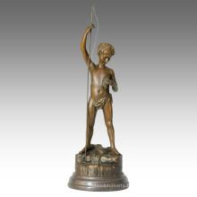 Enfants Figure Statue Enfant Pêche Décoration Bronze Sculpture TPE-343