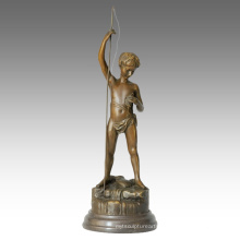 Kids Figure Statue Child Fishing Decoration Bronze Sculpture TPE-343