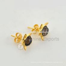 Venda Por Atacado Bezel Jewelry Gold Plated Gemstone Stud Earring