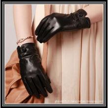 2012 nouveaux gants en cuir de chèvre noir à motif designé
