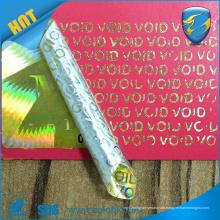 2016 Etiqueta del holograma de la falsificación del anti de la etiqueta del holograma del oro de la prueba de VOIDTamper en escala