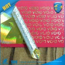2016 VOIDTamper prova ouro holograma etiqueta anti falso uv imprimir holograma adesivo em escala