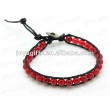 Bracelets d'enveloppement d'amitié avec des perles de pierre d'agate