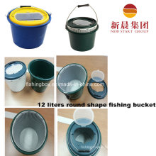 12 Liters Round Shape Plastic Dark Green Fishing Bucket