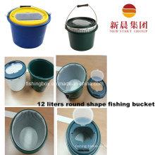12 литров круглые формы пластиковые темно зеленый рыбалка ведро