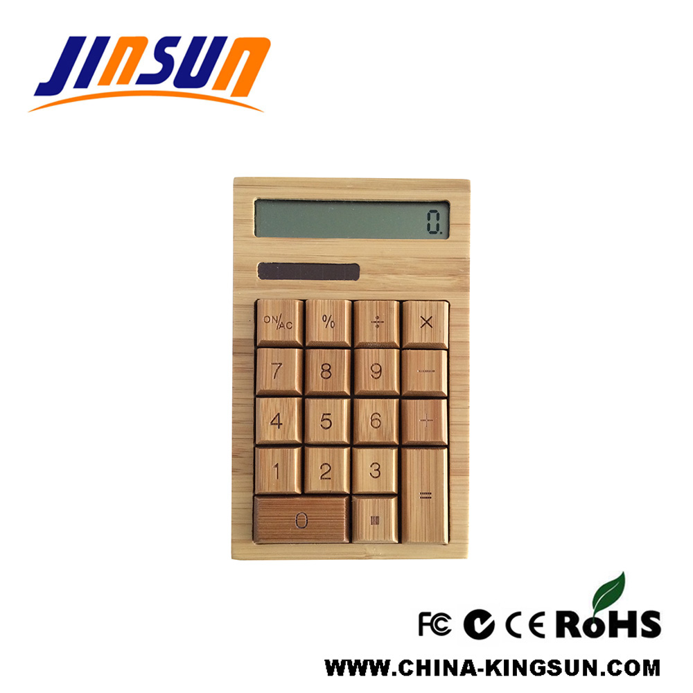 Natural Bamboo Calculator Desktop Size With Dual Power