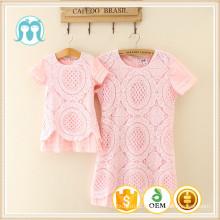 Vestidos de renda para a moda casual adulto princesa rosa vestido para crianças e crianças adultas Guangzhou roupas de fábrica