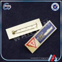 Insigne en pin métallique sur mesure en forme rectangulaire