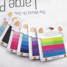 Mädchen Silber Streifen gemischte Farben Karte verpackt elastische Haarbänder (JE1502-2)