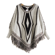 Womens Cardigan Wraps Winter gestrickte Kabel Fransen Shawls Poncho Sweater (SP614)