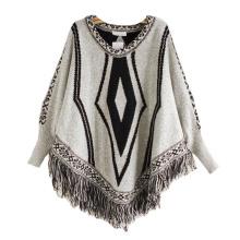 Cárdigan para mujer envuelve el suéter de poncho de punto de invierno con flecos de cable (SP614)