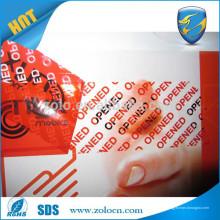 Cinta evidente de la seguridad de la falsificación anti-robo de encargo barata vendedora caliente de la seguridad de la muestra libre de la prueba para el sello