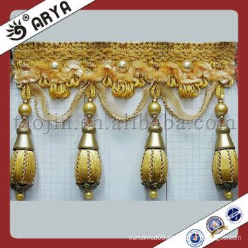 Polyester Golden Bullion Beaded Fringe ,Beaded Trimming ,Curtain Decorative Trims Fring