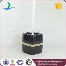 YSb50107-01-tbh Schwarzer Dolomit-WC-Bürstenhalter mit Diamant