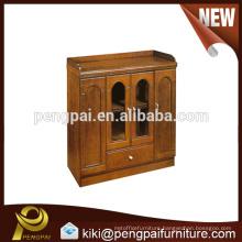 Oblong reddish antique glass wooden coffee cabinet design