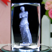 beautiul 3D laser engraved crystal cube for gift & decoration favors