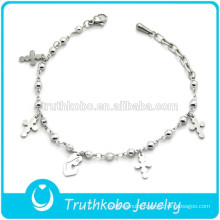 Religious Product Stainless Steel Bead Bracelet WIth Cross And Mary