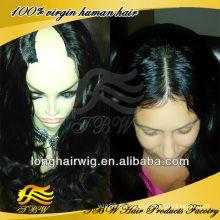 Melhor venda de produtos indiano remy meio u parte peruca de cabelo humano sem cola ondulado perucas