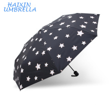 Gift Items for 2018 Zhejiang Cheap Tiny Spot Printing 3 Folding Advertising Umbrella with EVA Case Wholesale Umbrellas in Yiwu