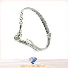 Luxuoso cristal austríaco bracelete bela design 925 pulseira de jóias de prata (g41252)