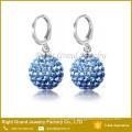 316L Surgical steel Birthstone Shamballa Disco Ball Hoop Drop Earrings