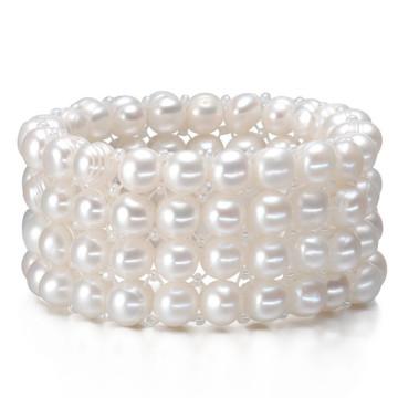 4rows Entwürfe Großhandelsvolles kultiviertes Frischwasserperlen-Armband