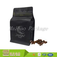 Bolso impreso de encargo de la válvula de la parte inferior del bloque del té del café negro del papel de aluminio de la categoría alimenticia con la cremallera