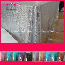 Paño de tabla metálico del cequi de la plata de la boda de la secuencia del bordado del poliester de la suposición 100%