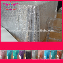 New cheap Hot sale fancy 100% polyester embroidery metallic sequence wedding silver sequin table cloth