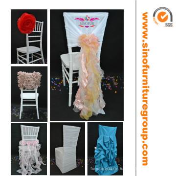 Heißer Verkauf fancy ruffled Hochzeitsstuhlabdeckung