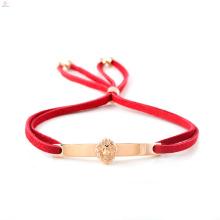 Lucky Red Leather Bar K pulseira de cabeça de leão de ouro