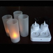 Plastic rechargeable flickering LED tealight candle