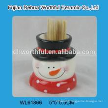 Wholesale ceramic toothpick holder in snowman shape