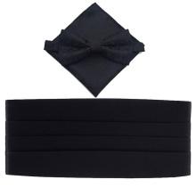 Solide schwarze Polyester Kummerbund Fliege und Hanky Set