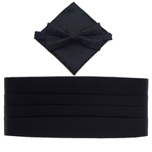 Solid Black Polyester Cummerbund Bow Tie and Hanky Set
