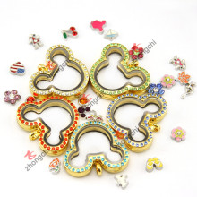 Imitación de oro joyas flotantes Locket collar para el partido del tema (zc-ml06)