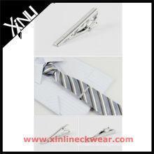 Silberne Kupfer Mode Krawatte Clip und Seide gewebt Krawatte